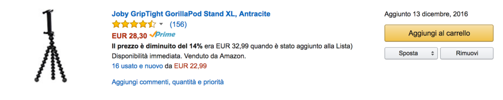 Wishlist di Amazon: i prezzi scendono
